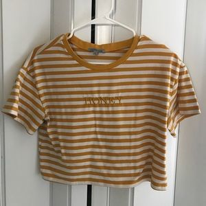 Mustard Yellow and White Stripped 'HONEY' Shirt